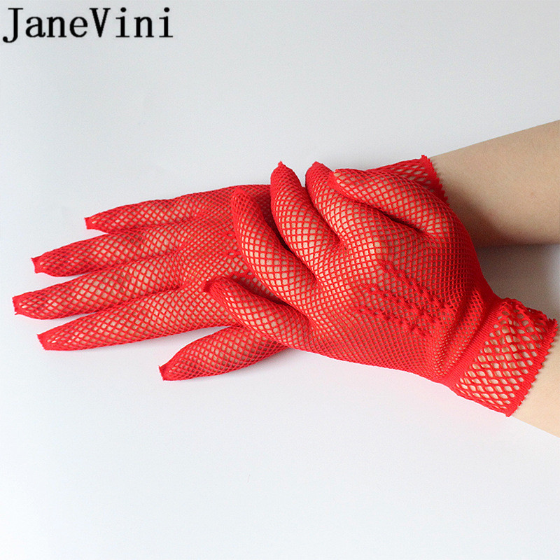Купить с кэшбэком JaneVini Tempting Fishing Net Wedding Gloves for Brides Women Red Black Hollow Bridal White Gloves Night Club Sexy Gloves Woman