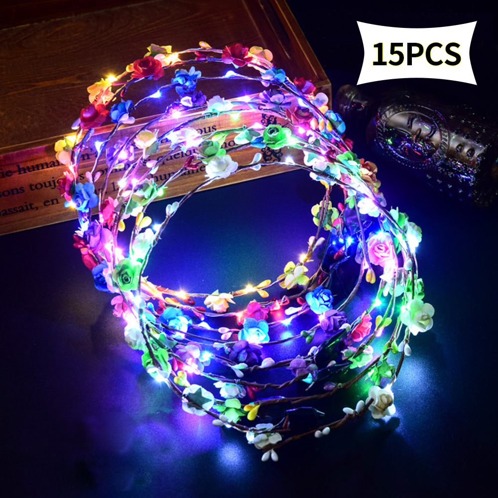 LED Flower Headband Girls Headdress Rattan Head Hair Accessories For Baby,Kids,Child,Adult Party Supply
