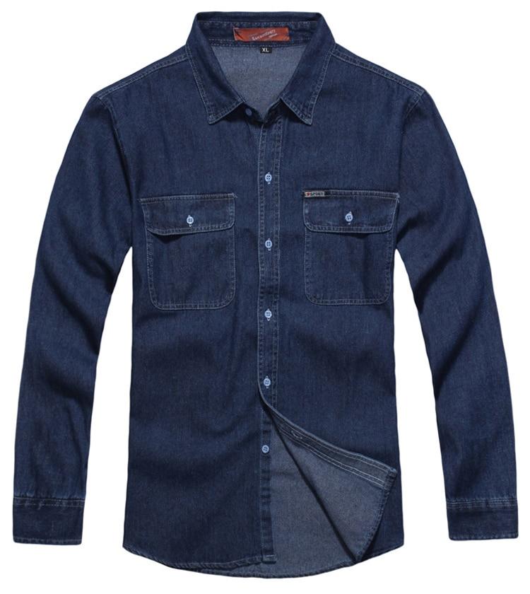 Новинка 2016 г. мужские джинсовые футболки с длинными рукавами мужской размер лагер. Свободные рубашки джинсовой одежды мужские джинсы рубашка для мужчин TA1279