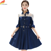 Half Lantern Sleeve Jeans Dress 2018 Spring Summer Lace Patchwork See through A line Denim Dress Women With Belt Fashion Dresses