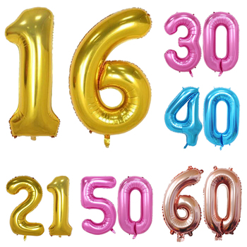 40 Inch Sweet 16 21th Birthday Ballons 30 50 60 Years Old Decorations Foil Balloons Adult Anniversary Party Supplies