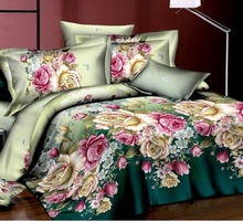 купить 4PCS French Pink Rose Bed sheet 100% Cotton Comforter Bedding Set Queen Size Bed Sheet Luxury Duvet/Quilt Cover Set онлайн