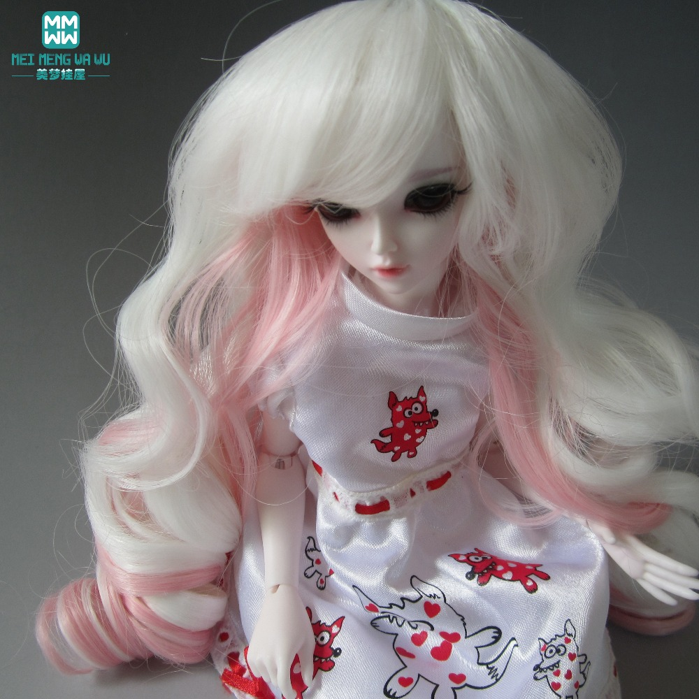 hair for dolls fits 1/3 1/4 1/6 BJD/SD doll wigs applicable Long Wavey hair red and white 025