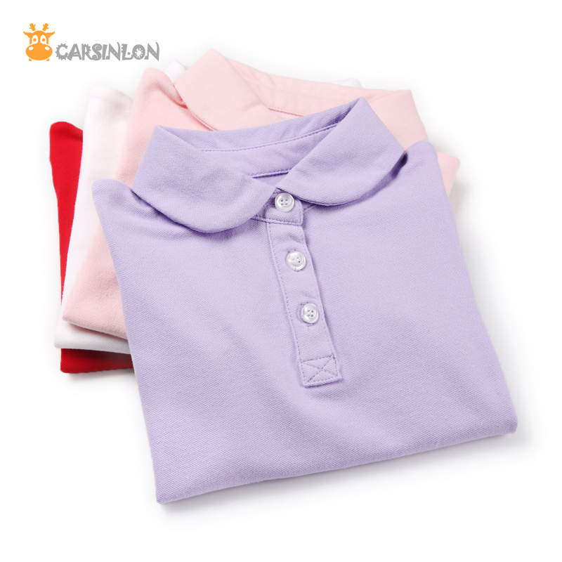 New Arrival Summer Girls Polo Shirt Short Sleeve Peter-Pan collar Solid Thin Cotton Kids Tops Tees White Red Children Clothes все цены