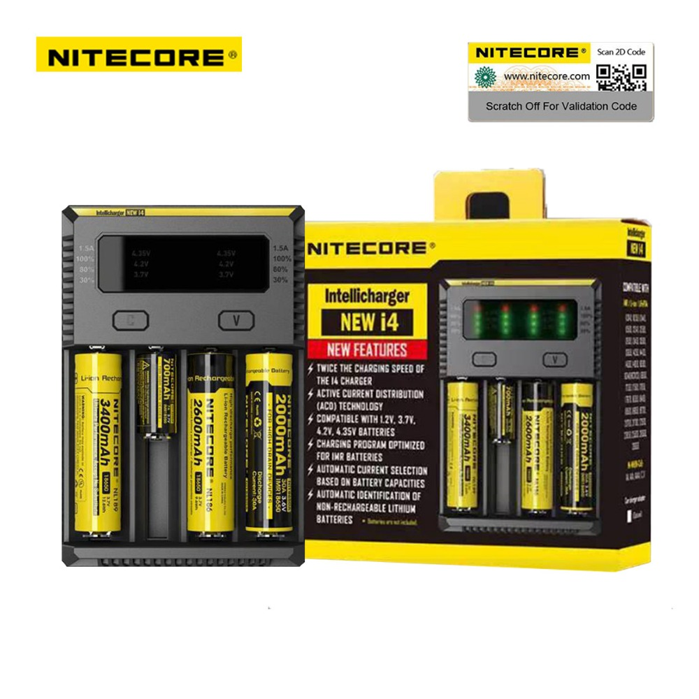 TK Original Nitecore I4 18650 Battery Charger Universal Digicharger for AA AAA 26650 14500 Li-ion Lithium Batteries Charging shanson