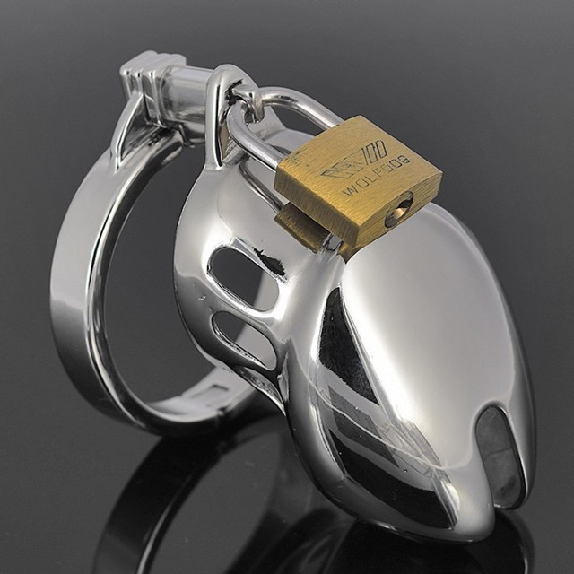 Man 304 Stainless Steel Short Cage Sex Chastity Penis Ring Anti-off Device+lock  Sexy toy for man Penis A920