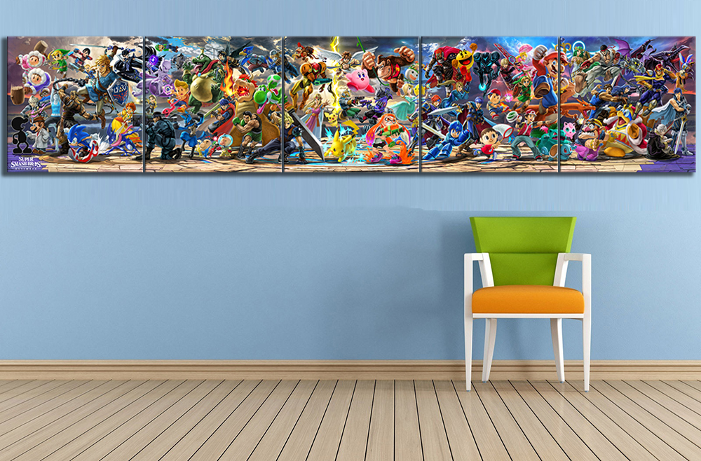 5 Piece Super Smash Bros Cartoon Pictures Video Game Poster Artwork Canvas Paintings  Wall Art for Home Decor 3