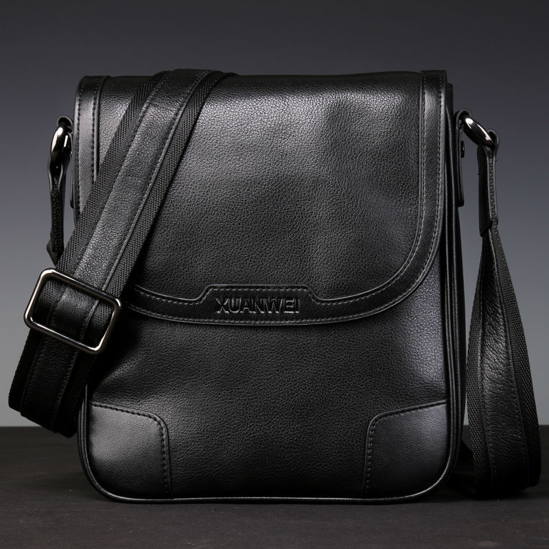 HOT High-end Black Men Retro Grano completo Ganado genuino Piel - Bolsos