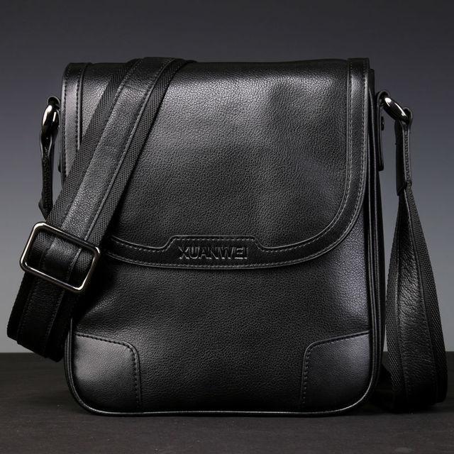 HOT High-end Black Men Retro Full-grain Genuine Cattle Hide Messeanger Bag Wear-resisting & Durable Business Briefcase (XW8669P)