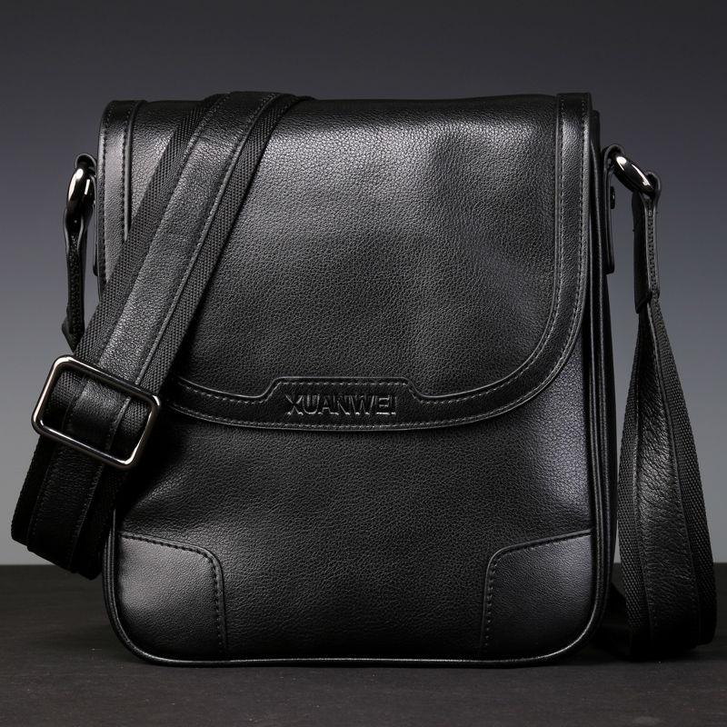 HOT wysokiej klasy czarny mężczyźni Retro pełne ziarna prawdziwej skóry bydlęcej Messeanger odporny na zużycie i trwałe walizka biznesowa (XW8669P) w Torby z długim paskiem od Bagaże i torby na  Grupa 1