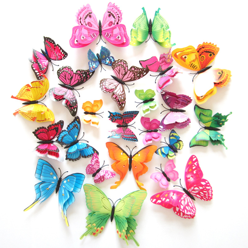12pcs 3D Stereo Butterfly Wall Sticking Fridge Magnet Color Double-layer layout Room Bedroom Decoration for home