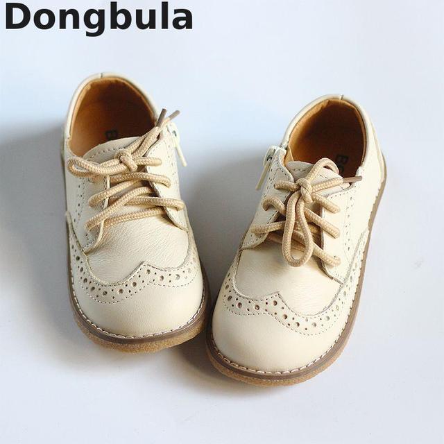 2019 ربيع جديد جلد طبيعي حذاء للأطفال للأولاد الفتيات الدانتيل يصل مسطح حذاء كاجوال تنفس عدم الانزلاق طفل حذاء طفل صغير