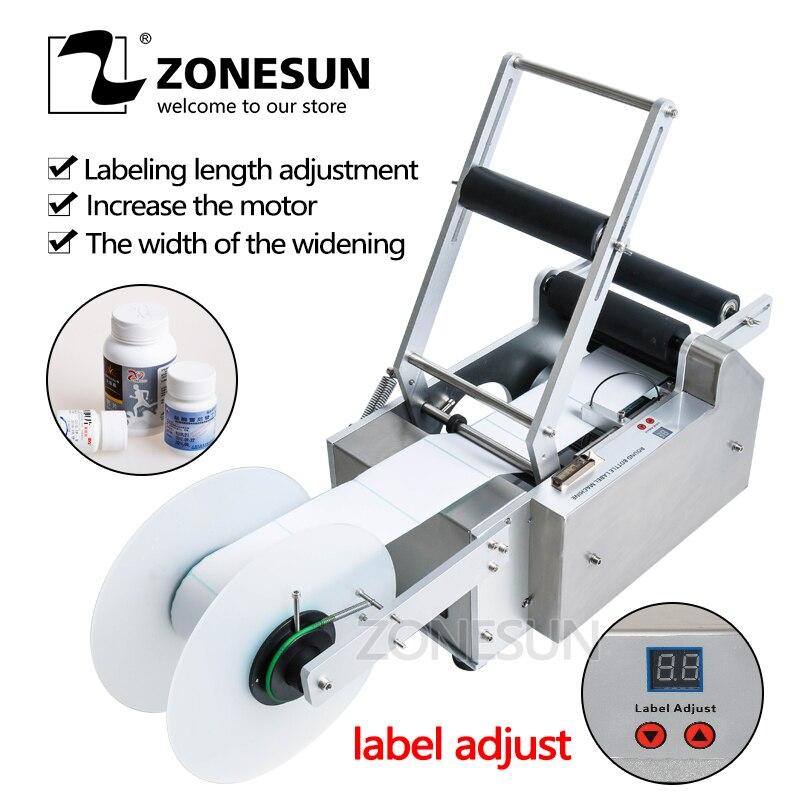 ZONEUN FREE SHIPPING LT 50 Semi Automatic Sticker Round Bottle Labeler Tube Can Labeling Machine Customized