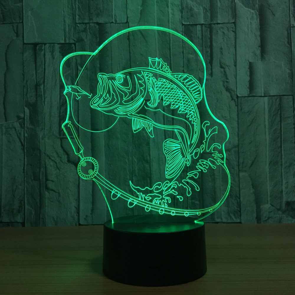 7 Color Changing Fish 3D LED Lamp USB Charge Touch Button Table ...