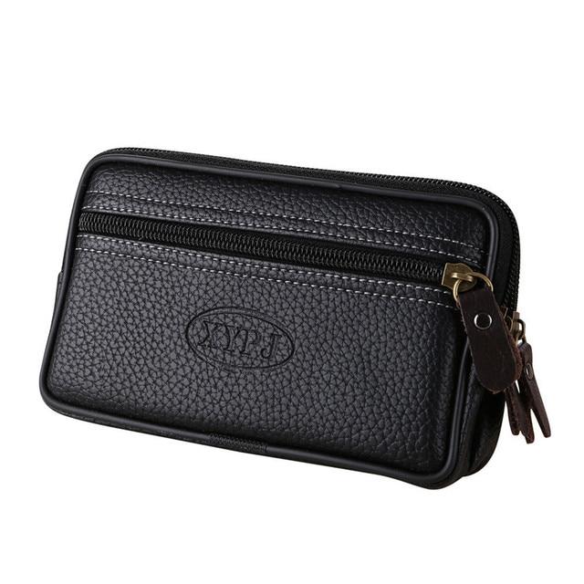 383fa57175781 2018 Slim Vintage Men Pure Color Leather Man Black Wallets Coin Bag Phone  Bag Clutch Waist