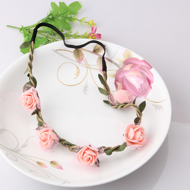 e96b426f8 Wedding Flower Wreath Headbands Girls Floral Garland Bridesmaid Fine Hair  Band Accessories Delicate Ornament for Women Headwear-in Women's Hair  Accessories ...