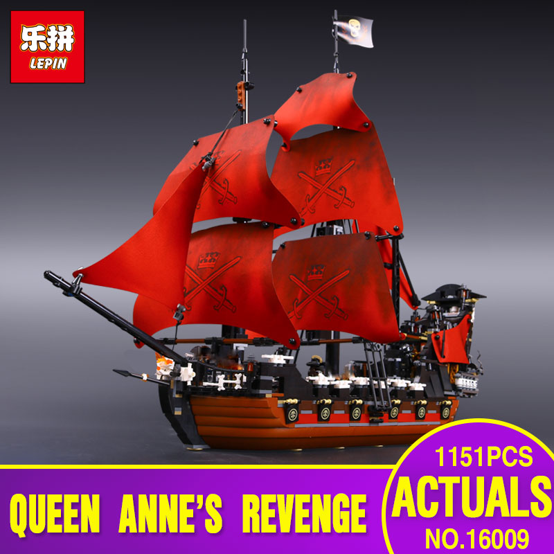 New LEPIN 16009 1151pcs Queen Anne's revenge Pirates of the Caribbean Building Blocks Set Compatible with  4195 for chidren gift lepin 22001 imperial warships 16009 queen anne s revenge model building blocks for children pirates toys clone 10210 4195