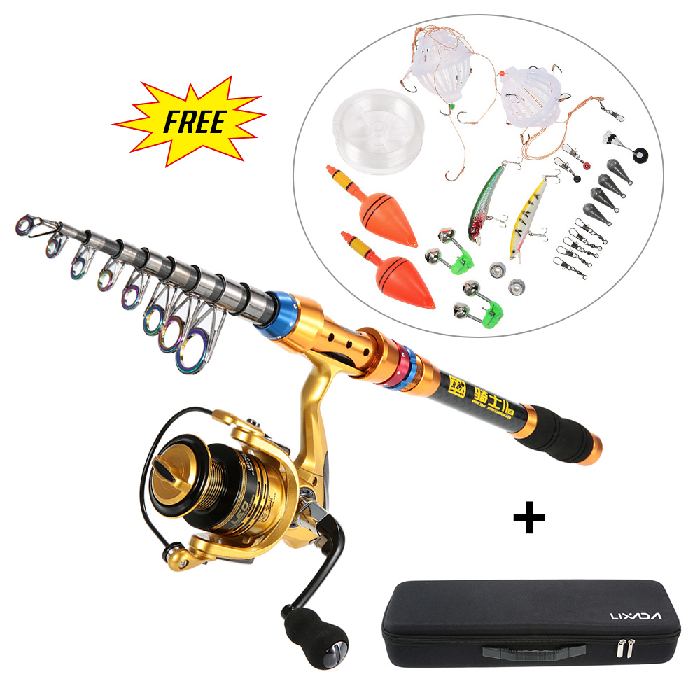 Lixada portable fishing rod set spinning rod reel combos for Fishing rod set