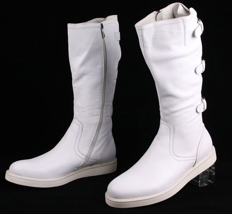 Large size EUR 45 fashion knee high black / white mens boots ...