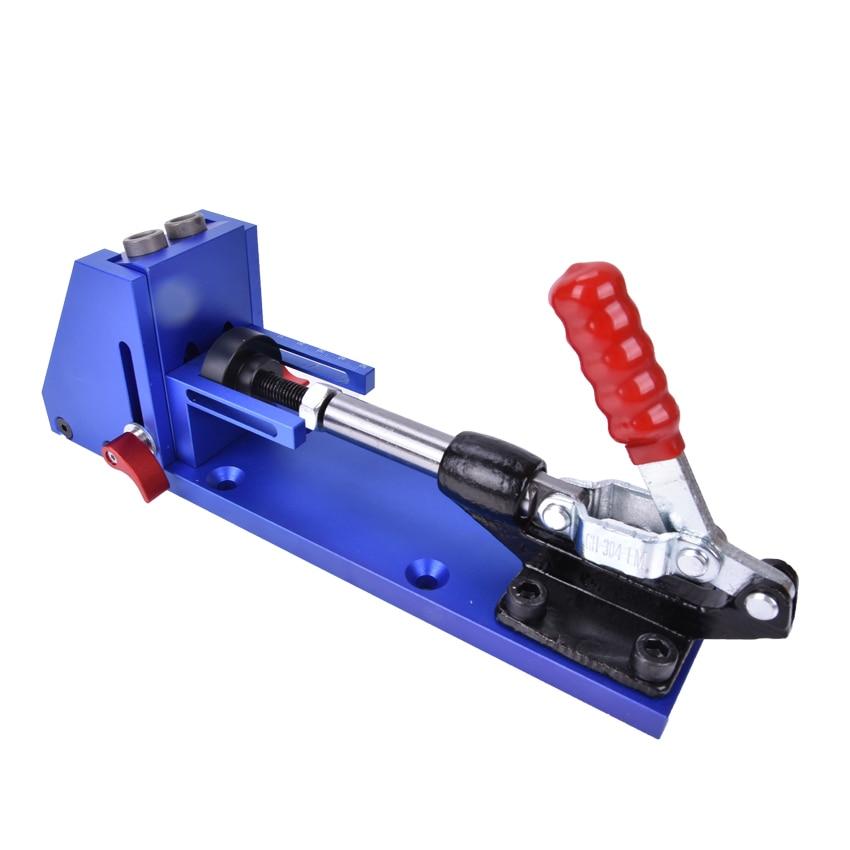 Buraco bolso Sistema de Kit de Reparação de carpintaria Carpinteiro Jig Guia Com Alternância Braçadeira 9.5mm e 3/8 polegadas Broca Passo Bit - 3