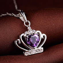 Newly Crystals Crown Pendant Necklaces for Women Fashion Jewelry Alloy Chain Choker Necklace Female Hot Style