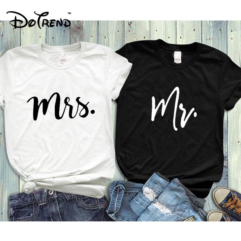 Casal camiseta seu e dela sr. sra. marido e esposa t camisas combinando presente de casamento camiseta superior verão unisex moda 2019
