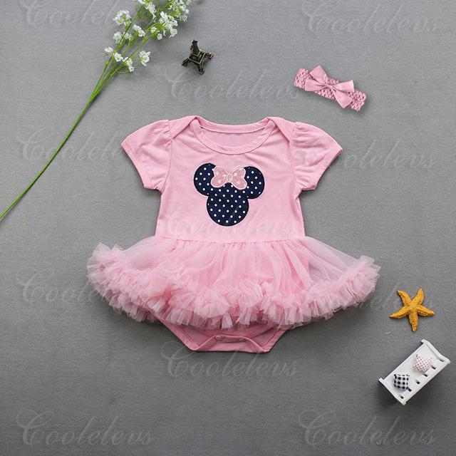 Meninas do bebê de algodão dos desenhos animados minnie bodysuits rosa rendas saia tutu bebê desgaste macacão infantil jumpers crianças feliz aniversário 16J21