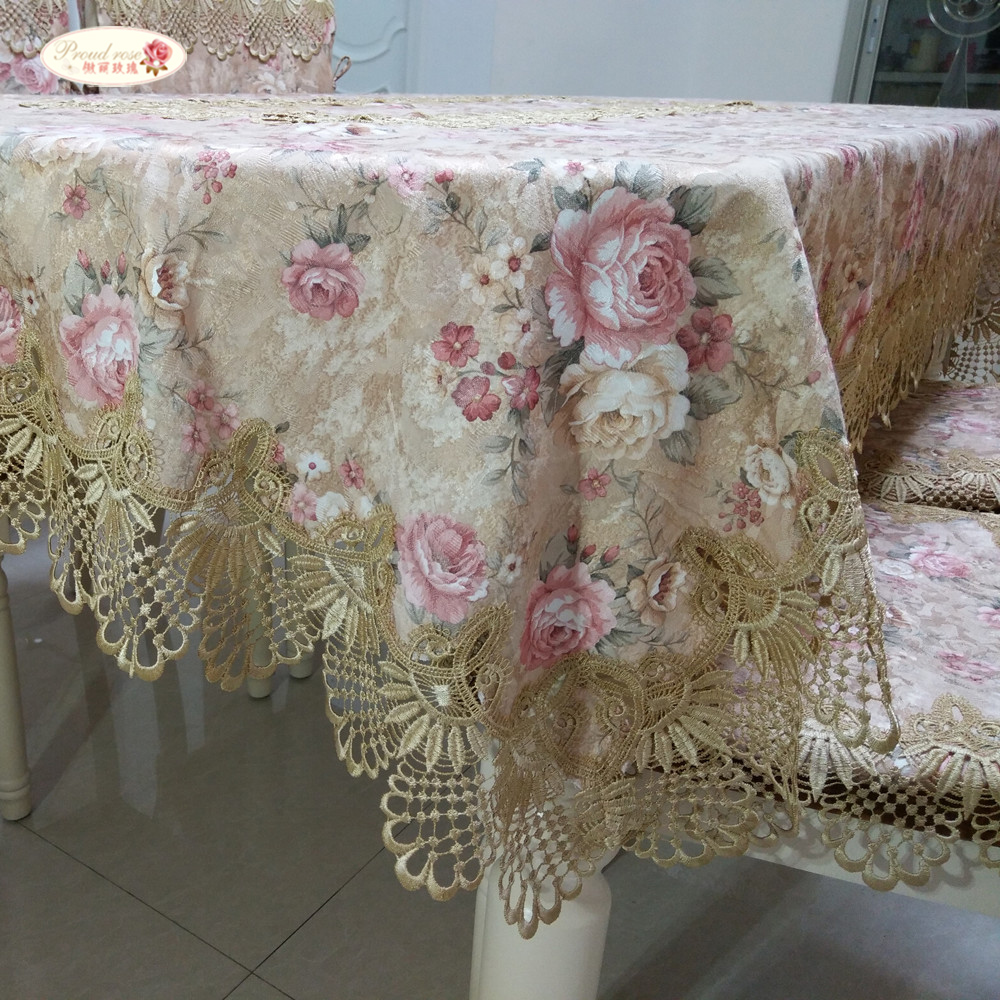 c4079e07957 Proud Rose Pastoral Lace Tablecloth Table Cover European Round Table Cloth  Chair Cushion Wedding Decor Table Cloth Chair Cover