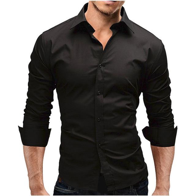 46f163d64 2018 Outono Sólida Casuais Camisas masculinas Manga Longa Turn Down Botão  Collar Magro Hot Venda Nova