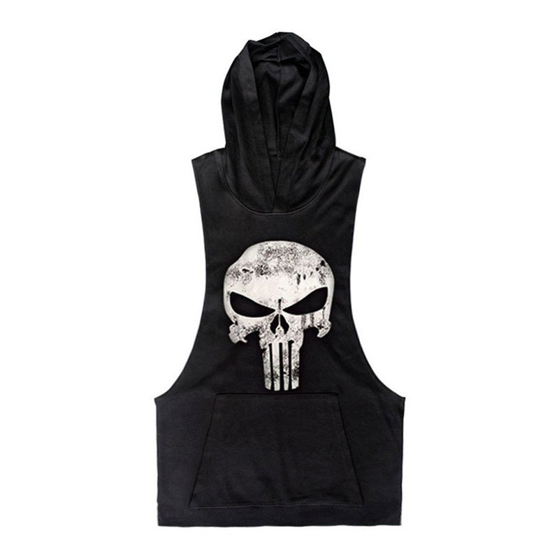 Punisher   Tank     Tops   Skulls Men Sleeveless Tanktop Hooded Boys Bodybuilding   Top   Fitness Vest Compression Clothing Crossfit   Tanks