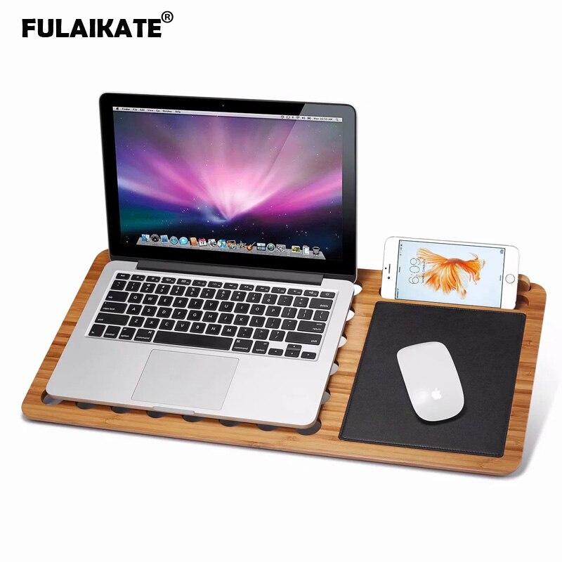 FULAIKATE Bambou Support d'ordinateur portable pour Ordinateur Portable iPad Tablette Support de pc avec Zone de La Souris pour Travail Sur Canapé-Lit Support de Table