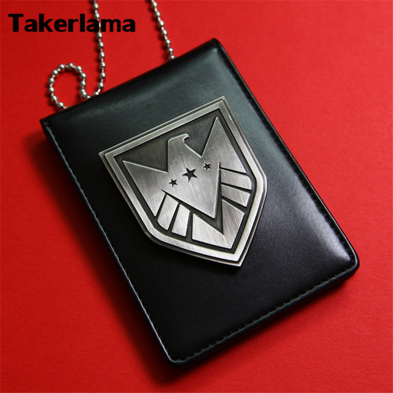 Takerlama The Avengers Agents Of S.H.I.E.L.D Shield Badge Leather Cushion with Chain Metal SHIELD Badge Pin & Badge Holder