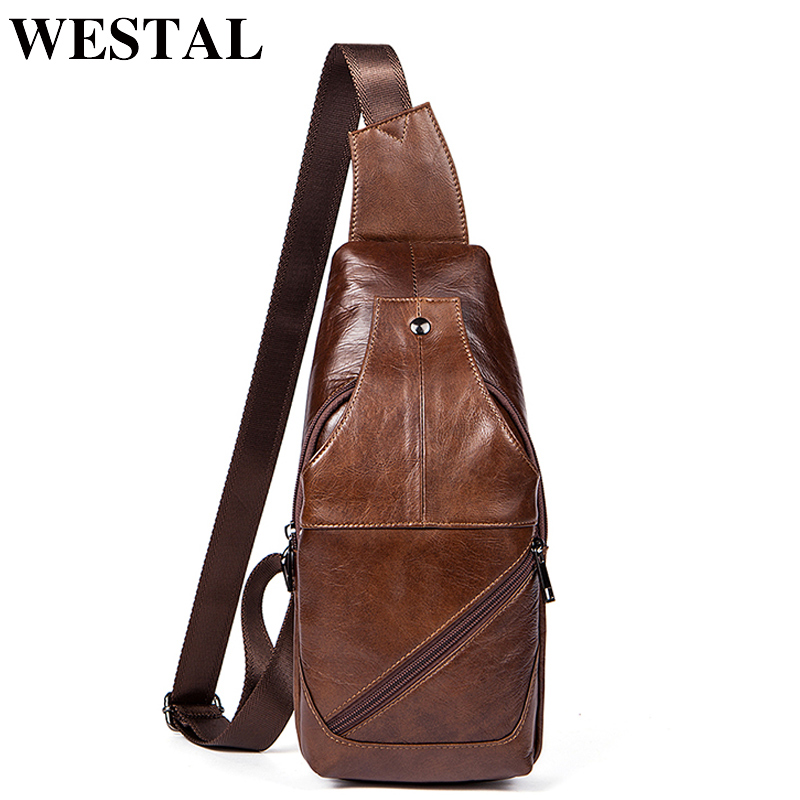 WESTAL Genuine Leather Bag Strap Sling Men Chest Bag USB Men Messenger Bags Cell Phone Leather Crossbody Shoulder Bags Man westal crossbody bags shoulder bag men genuine leather messenger bag zipper cell phone pocket black business small bags 1023