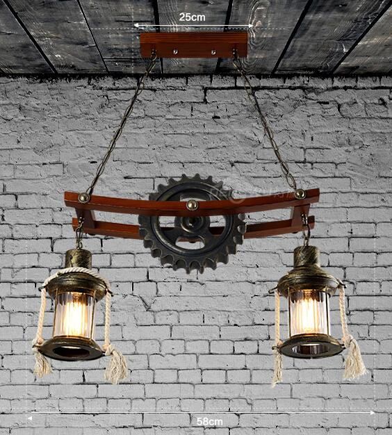 American Industrial Country Personality Creative Iron Wood Antique Restaurant Pendant Light Coffee Shop Bar Light Free Shipping industrial style restaurant light solid wood dinging room pendant light american country wrought iron cafe lights free shipping