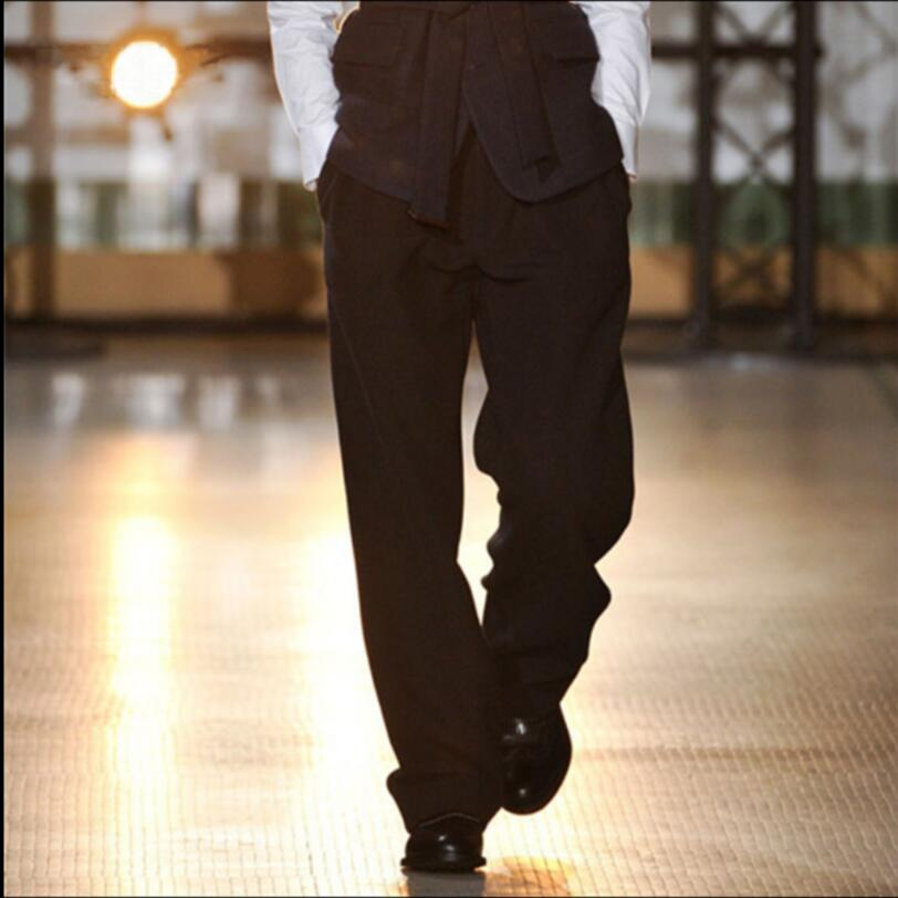 27-44 Autumn And Winter New Woolen Wide Leg Straight Men's Casual Pants Loose Thick Wool Trousers Korean Fashion Wide Leg Pants