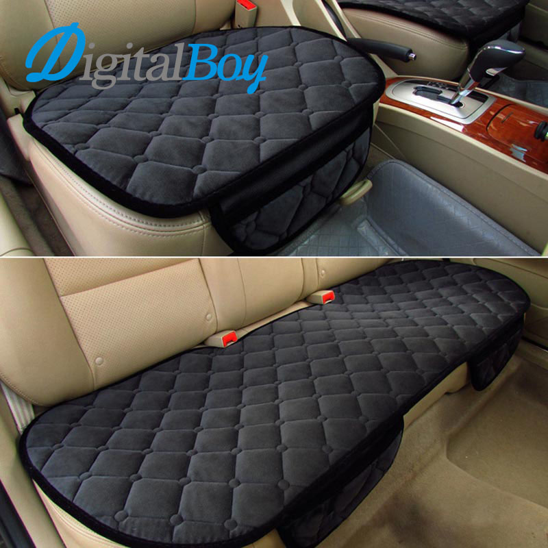 Digitalboy Brand New 3Pcs kit Universal 5 Seats Car Seat Covers Set Car Cushion for Front & Back Seat Soft Silk Velvet Pad