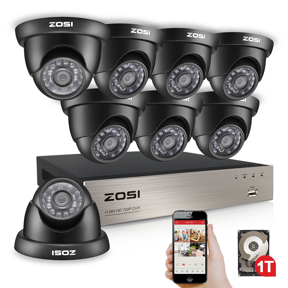 ZOSI 8 Channel 1080N TVI 8CH 720P HDD Nightvision Dome CCTV Video Home Security Led Camera