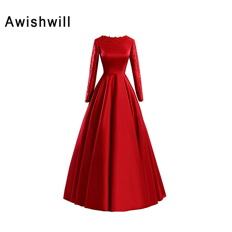 Fashion Red Long Sleeves Muslim Evening Dress Appliques Satin A-line Long Party Formal Gowns Arabic Women Pageant Dresses satin