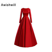 Fashion Red Long Sleeves Muslim Evening Dress Appliques Satin A line Long Party Formal Gowns Arabic Women Pageant Dresses