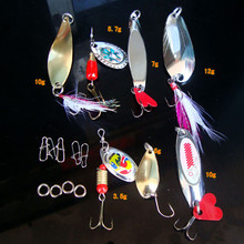 High quality Metal  Fishing Lures set Bass Spoon Crank Bait Saltwater Tackle Hooks Bright colors Fishing Lures kit durable