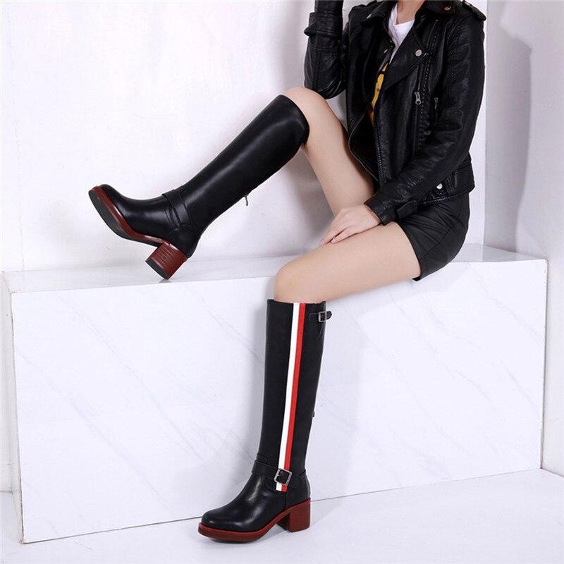 Mstacchi 패션 무릎 높은 부츠 라운드 발가락 정품 가죽 숙녀 부츠 두꺼운 하이힐 오토바이 부츠 세련된 zapatos mujer 2019-에서무릎 - 하이 부츠부터 신발 의  그룹 3