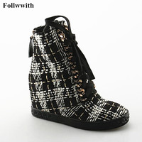 2018 Gingham Canvas High Top Height Increasing Zipper Women Shoes Front Chains Lace Up Shoes Flats