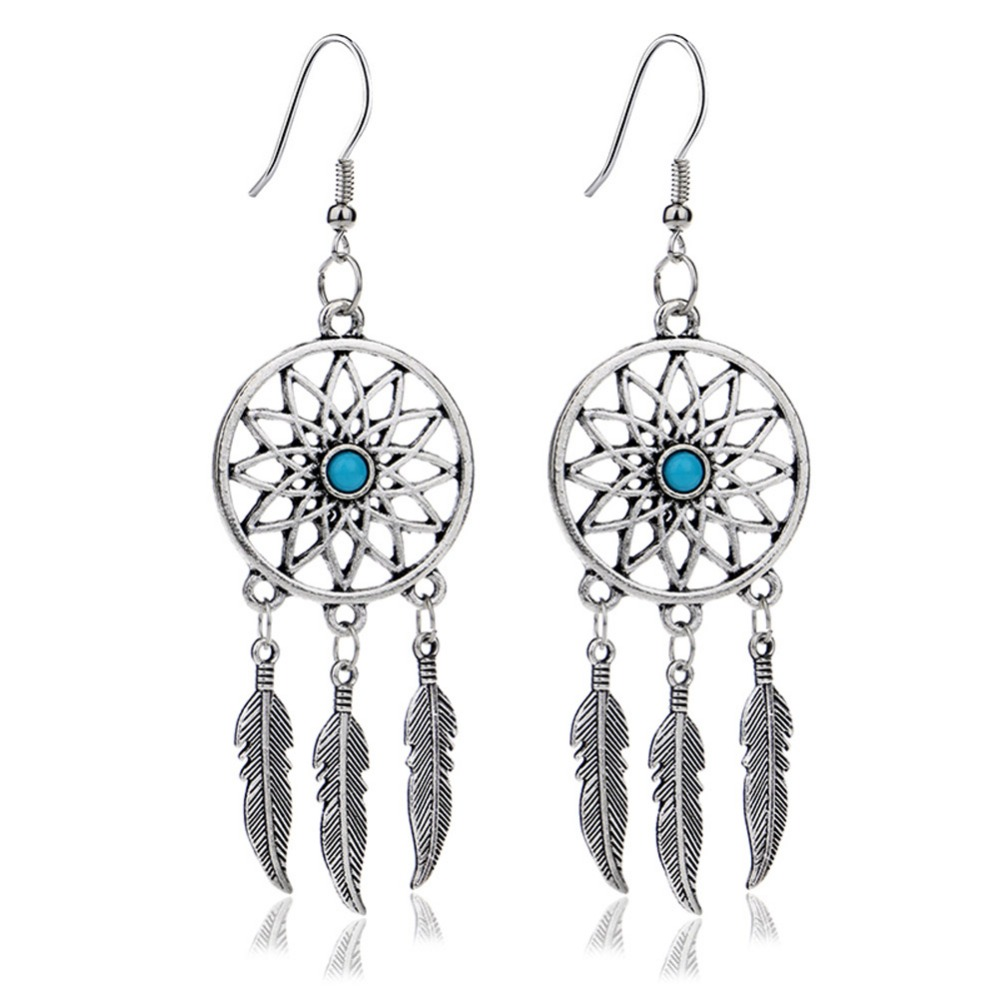 1 Pair Hot Ing Dream Catcher Ear Drop Feathers Dangle Earrings Women Charming Jewelry Gifts 0780 In From Accessories On