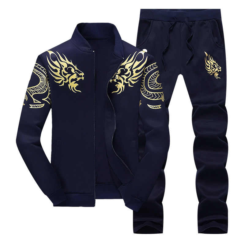 Bumpybeast куртка на молнии + брюки поло набор 2018 повседневный мужской спортивный костюм Толстовка мужской комплект из двух предметов Y866