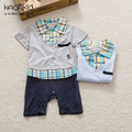 Retail 2017 Summer style Infant clothes Clothing sets Cotton Gentleman Baby 2pcs(Short Sleeve + Pants + Scarf) Baby boy clothes