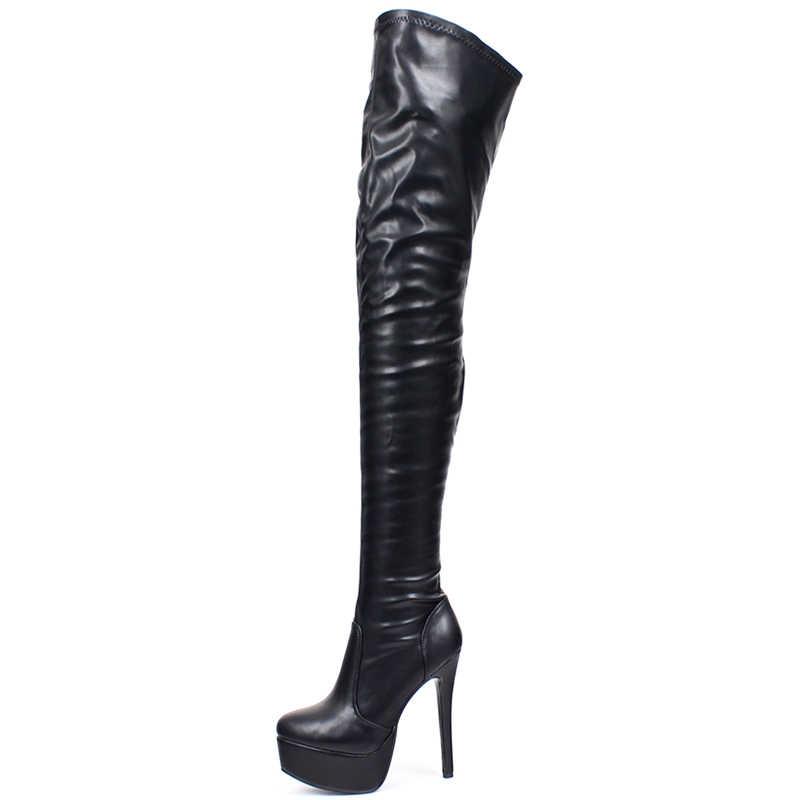 Jialuowei, botas altas hasta el muslo para mujer, botas sexys de plataforma de tacón súper alta delgada, botas de baile de Punta puntiaguda con cremallera sobre la rodilla hasta la rodilla