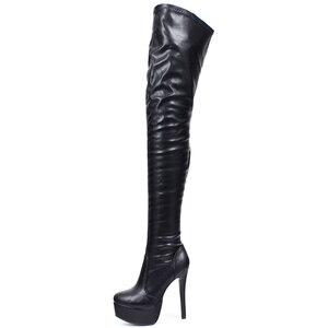 Image 2 - Jialuowei נשים ירך גבוהה מגפיים סקסי סופר גבוה פלטפורמה דק העקב הבוהן מחודדת רוכסן מעל לברך גבוהה נעלי ריקוד