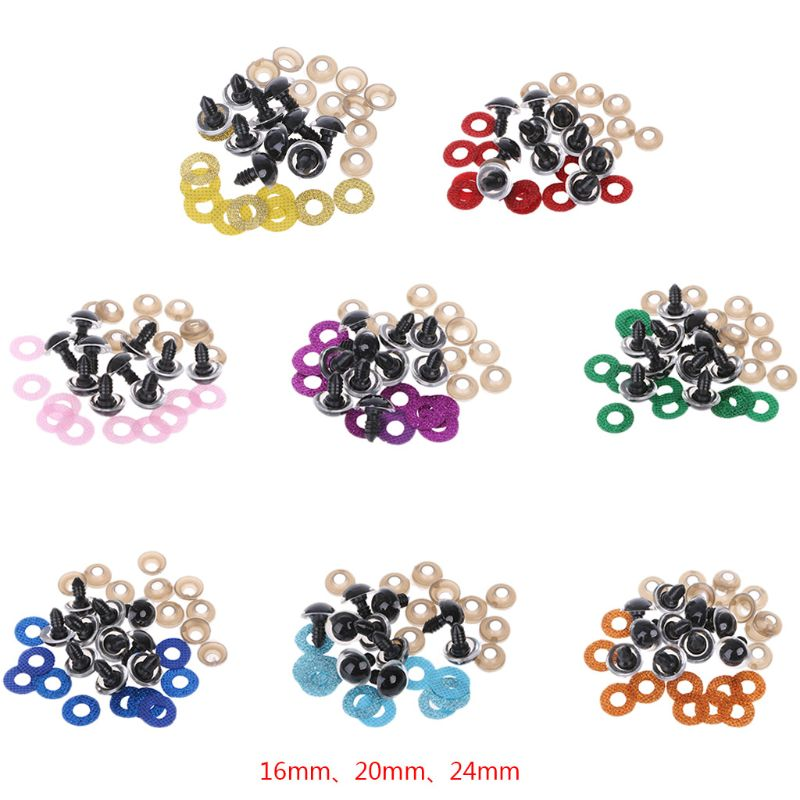 16 /20 /24mm 10pcs Shinning Plastic Doll Eyes Craft Eyes DIY For Plush Bear Stuffed Toys Animal Puppet Dolls