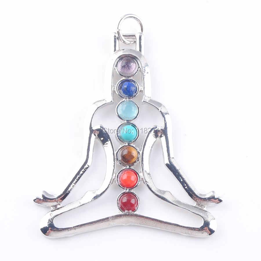 WOJIAER ナチュラル宝石石ヒーリングレイキチャクラ瞑想フィギュアムーンペンダントチャームビーズ PBN324