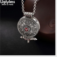 Uglyless Real 925 Sterling Silver Handmade Unisex Cross Vajra Pendant without Chain Tibetan Retro Jewelry Gaudencio Openable Box